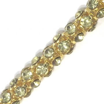 7mm Lemon colour rhinestone gold colour reticulated chain -- 1meter